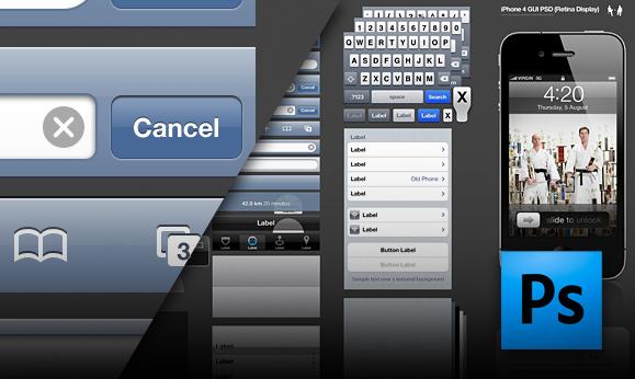 Весь интерфейс iPhone 4 в одном PSD-файле